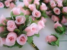 "144 Poly Silk Rose Flower 4"" Stem/leaf/trim/Wedding Bouquet H415-Wholesle-Pink"