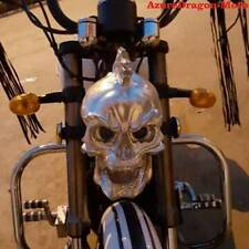 LED Skull Head Light Headlight Lamp for Harley Motorcycle Custom silver Hot