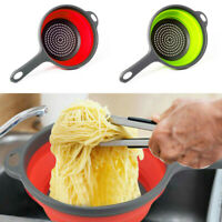 Silicone Folding Plastic Colander Drain Basket Fruit&Vegetable Washing Strainer