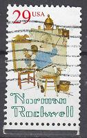 USA Briefmarke gestempelt 29c Norman Rockwell Maler Rand unten / 1075