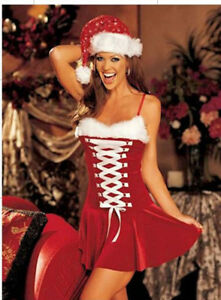 Ladies Sexy Santa Christmas XMASS Fancy Dress Outfit Costume Lingerie 8-12 #9053