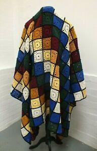 "Large Handmade Crochet Square Granny Throw Blanket Autumn Colours 80"" x 57""(Haw)"