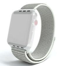 Für Apple Watch Armband Nylon Gewebe iWatch Uhrenarmband Sport 38/40mm Hellgrau
