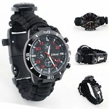 16in1 Paracord Survival Watch Bracelet With Compass Flint Fire Starter Gear Kits