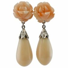 Angel Skin Carved Coral Diamond Dangle Earrings 18K White Gold Signed ELM NY