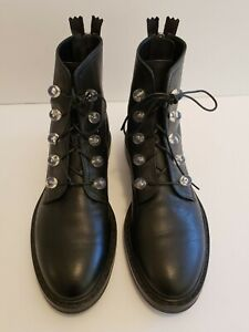AGL Black Leather Biker Boots W/Beads Women's Size 38.5 US 8 $550+ Worn Once!!