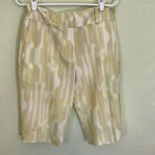 Nike Golf Fit Dry womens knee length shorts size 4 yellow pink stripes