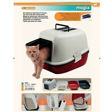 FERPLAST MAGIX HOODED CAT TOILET WITH SMART SIEVE TRAY SYSTEM - MAROON BASE