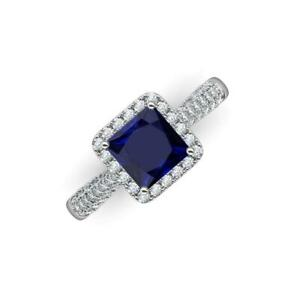 Blue Sapphire and Diamond 2 ctw Halo Engagement Ring 14K Gold JP:215718