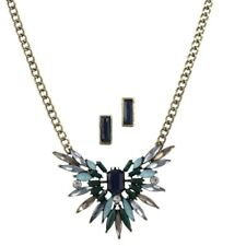 Pendant Necklace in Antiqued Goldtone New Blue Spectrum Marquise Resin Burst