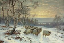 Oil painting wright Barker - flock a group of sheep on the way to home in winter