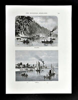 1872 Picturesque America Print - Neversink River Highlands - Fairhaven New York