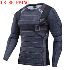 Superhero Winter Soldier Costume Cosplay Compression Tights Quick-Drying T-Shirt
