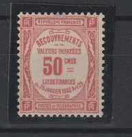 FRANCOBOLLI 1908/25 FRANCIA 50 C. SEGNATASSE MNH Z/4386