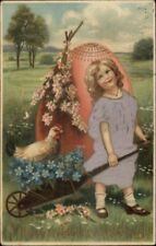 Easter - Little Girl & Giant Egg Real Silk Dress c1910 Postcard