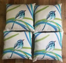Set Of Bird Throw Pillows White And Blue Home Decor