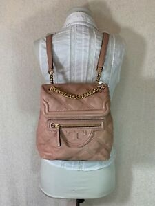 Tory Burch Pink Moon Leather Mini Soft Fleming Quilted Backpack $458