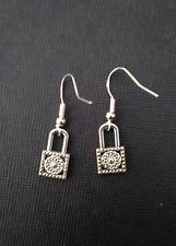 Beautiful Silver Lock Earrings on 18K White Gold Filled French Hooks MK Padlock