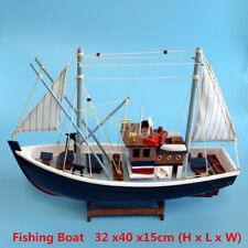 New Gift Hobby Collection Vintage Retro 40cm Wooden Handmade Fishing Boat Model