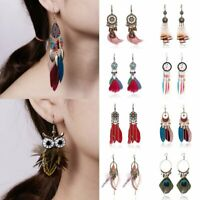 Fashion Women Boho Earrings Long Tassel Fringe Boho Feather Dangle Jewelry Gift