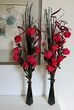 Set of 2 red flowers in GLASS vases - wedding tables display lounge