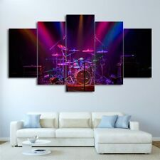 Drum Sets on Purple Stage Performance 5 pieces Canvas Wall Poster Home Decor