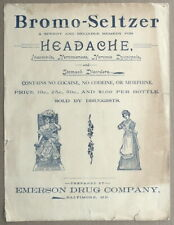 Headache Remedy Bromo Seltzer Sheet Music Ben Bolt. No Cocaine Codeine Morphine
