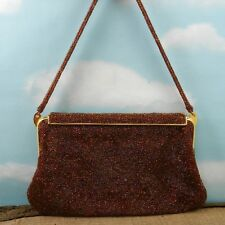 Vintage Made in Paris Brown Beaded Clasp Evening Hand Bag