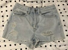 H&M Blue Distressed Denim Shorts, Size 32