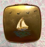 Vintage Brass Powder Make Up Compact W/ Enamel Sailboat-Estate