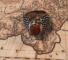 Silpada R0893 Sterling Silver Amber Detailed Band/ Ring Size 6.5 Rare