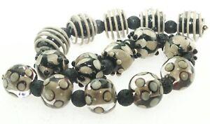 OliveStuart Handmade Lampwork Beads 15 black/khaki round