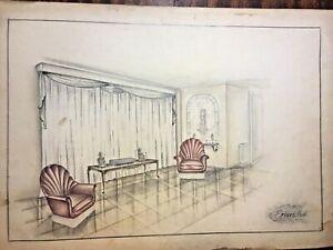 Antique interior drawing design, c.1940