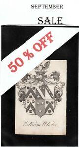 Ex Libris 6 Quartered Armorial Bookplate: WILLIAM WHELER (Baronet)   WAS £5.00