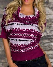 SeXy MiSS Damen Trendy Pullover Strick Pulli Norweger Muster Rolli 34/36/38 lila