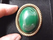 (BR-407) green Malachite gemstone on gold rope trimmed oval brass pin pendant