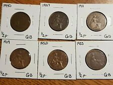➡➡ Lot of 6 British Vintage Half Penny Pence Key 1907,11,19,20,33,40 1/2d Circ