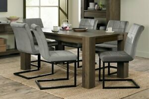 Constable / Sierra Fumed Oak 6 Seat Dining Set- Lewis Grey Velvet Cantilevers