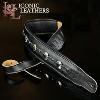 "Iconic Premium Conchos 3.25"" Wide Leather Dual Padded Black Guitar or Bass Strap"