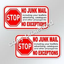 No junk mail no exceptions 2 x for letterbox mail box door slot vinyl stickers
