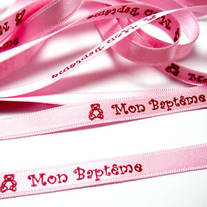 RUBAN - MON BAPTEME - TEXTE MESSAGE IMPRIME BORDEAUX S/RUBAN SATIN ROSE 8mm x 1m