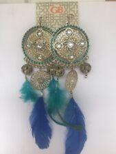 Earrings Feathers boho chic look long silver tone dangle pierced Gianni Bini