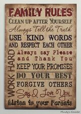 WOOD FAMILY RULES SIGN HANDMADE PRIMITIVE HOME TAN WALL DECOR PLAQUES SIGNS 0540