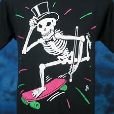 vintage 80s Skateboard Skeleton Tux Cartoon T-Shirt Small skate skull punk thin