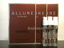 Lot of 3 Chanel Allure Homme EDT Sample Spray 1.5ml / 0.05oz each