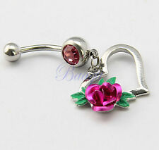 Fuchsia Rose Flower with Heart Dangling Belly Ring Navel Bar JW733