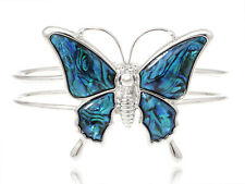Charm Silver Tone Queen Butterfly Faux Abalone Shell Wing Double Bracelet Bangle