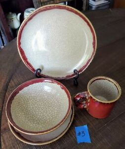 Pier One Pier 1 Crackle Collection 4 piece Dinner Setting Place Setting #3