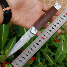 VG10 Damascus Stainless Steel Wood Handle Folding Blade Camping Outdoor Knife