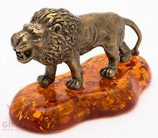 Solid Brass Amber Figurine Lion IronWork